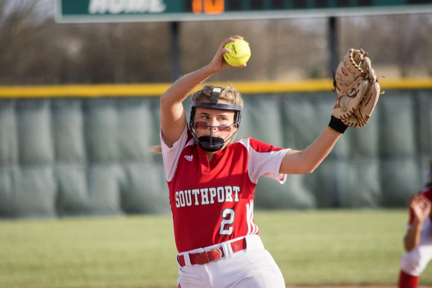 Senior Abby Pendleton pitches the ball during the game against Perry Meridian on Thursday, April 12.  SHS won the game 8-2