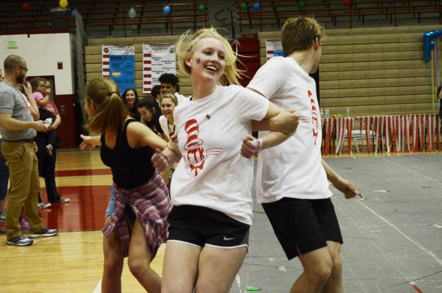 Junior Madison Haag participates in a game during RDM. During this game, dancers gathered in groups,  and one group was