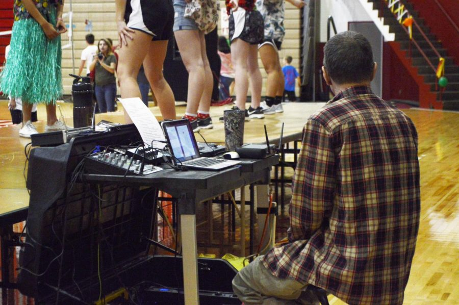 The DJ, John, plays the line dance song during the marathon. This was his last year helping out with the RDM.