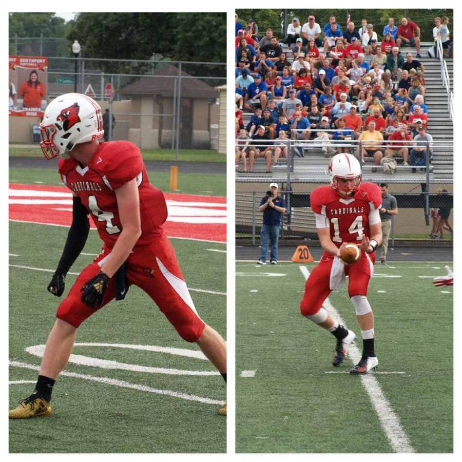 Seniors Lucas Willoughby (left) and Eddie Schott (right) play against the Roncalli Rebels on Aug. 17. SHS won the game 36-28.