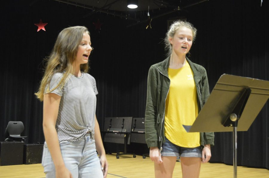 Two students audition for the upcoming fall musical on Aug.13 in the SHS auditorium.