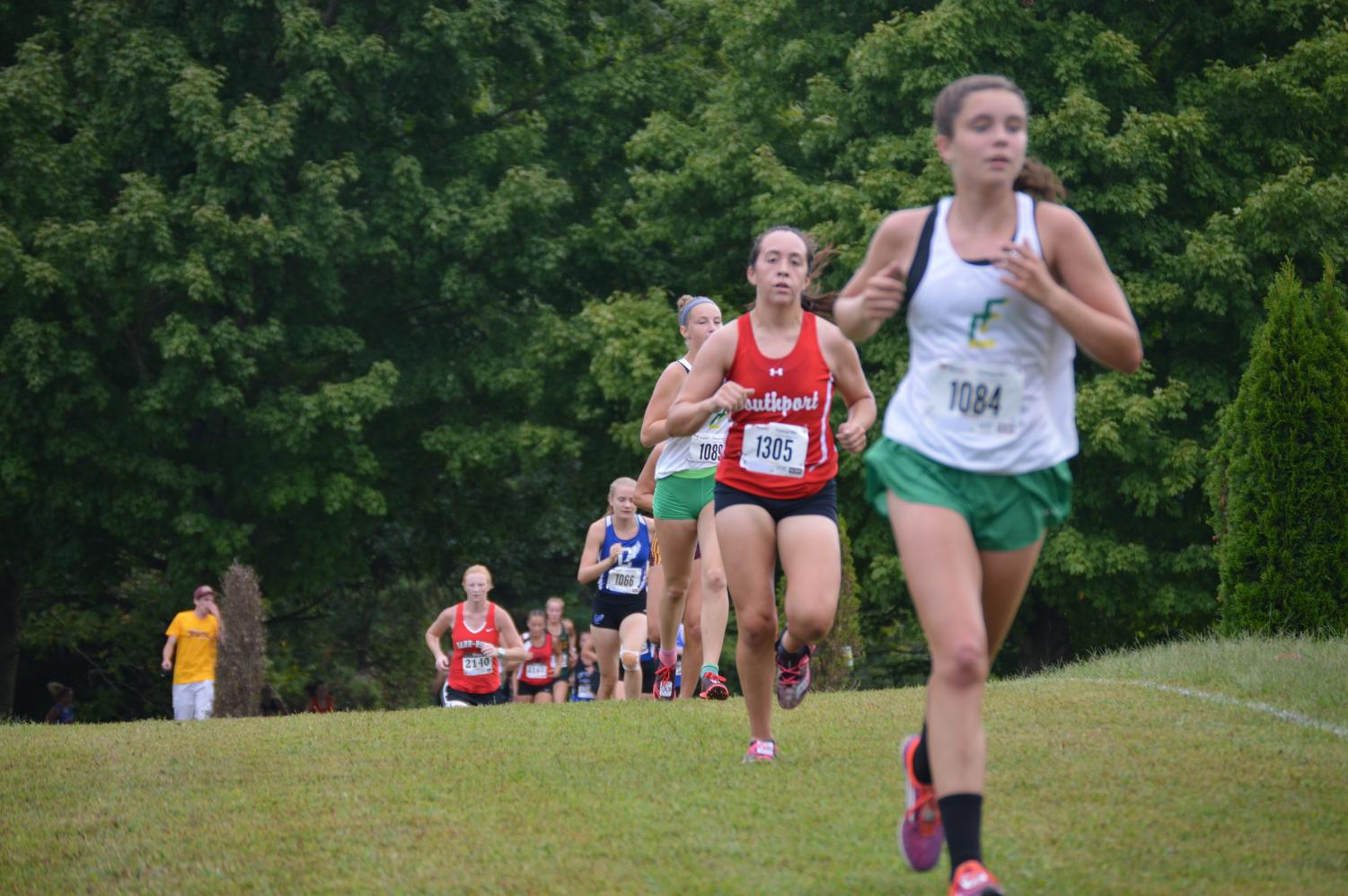 Junior Adrianna Frederick runs in the Columbus North Invitational on Sept. 1. She placed 19th overall in the meet.