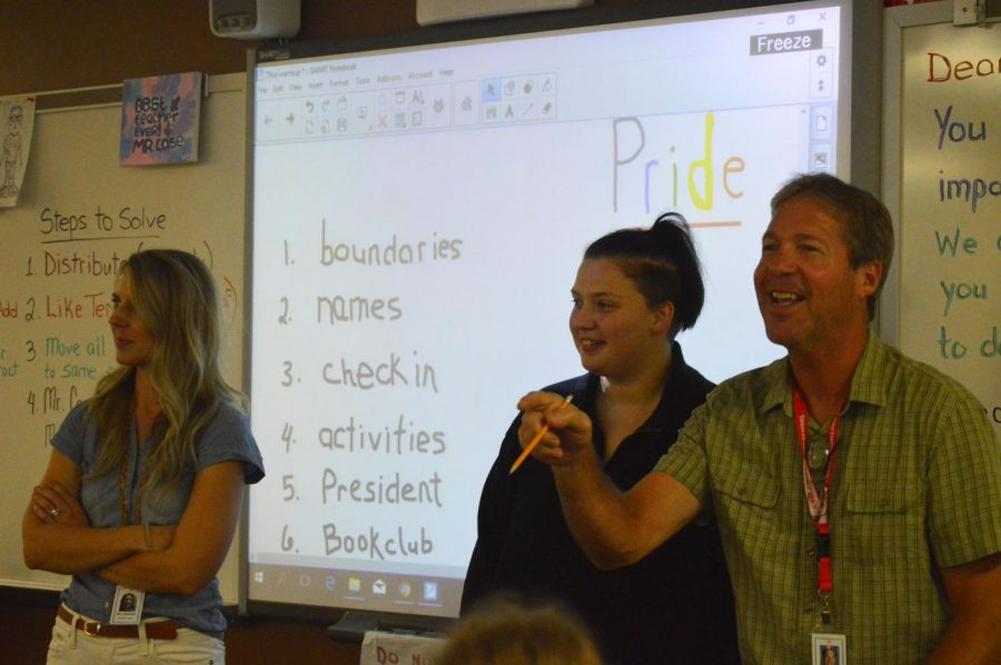 Teachers Erin Ancelet (left) and Tim Case (right) along with senior Hannah Wilson lead the first pride alliance meeting on Sept 6. They all hope to improve the club this year.