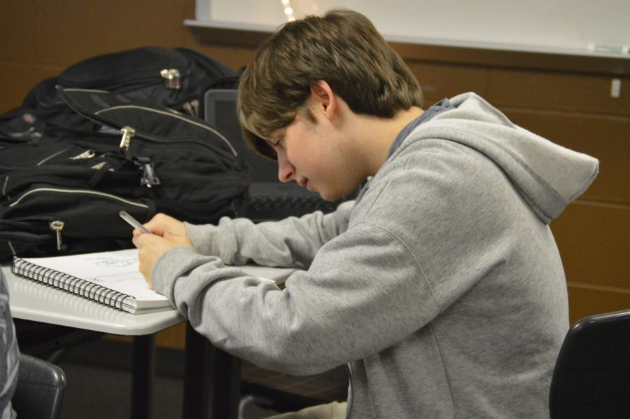 Sophomore anime club student, Casey Walker-Arthur, works on a drawing during anime club after school on Tuesday, Oct. 2.