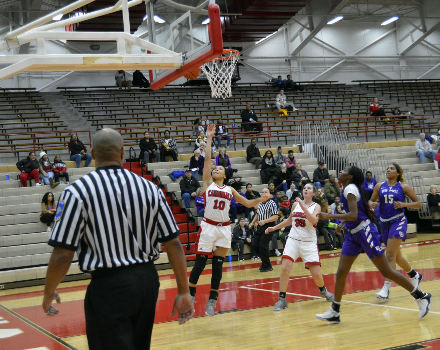 Junior Kyra Duncan shoots a layup at the girls varsity home game against Ben Davis on Thursday, Dec. 13. The SHS girls lost 37 to 61.