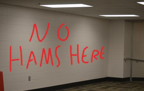 Anti-ham vandalism was spotted in a hall close to a pro-ham classroom.