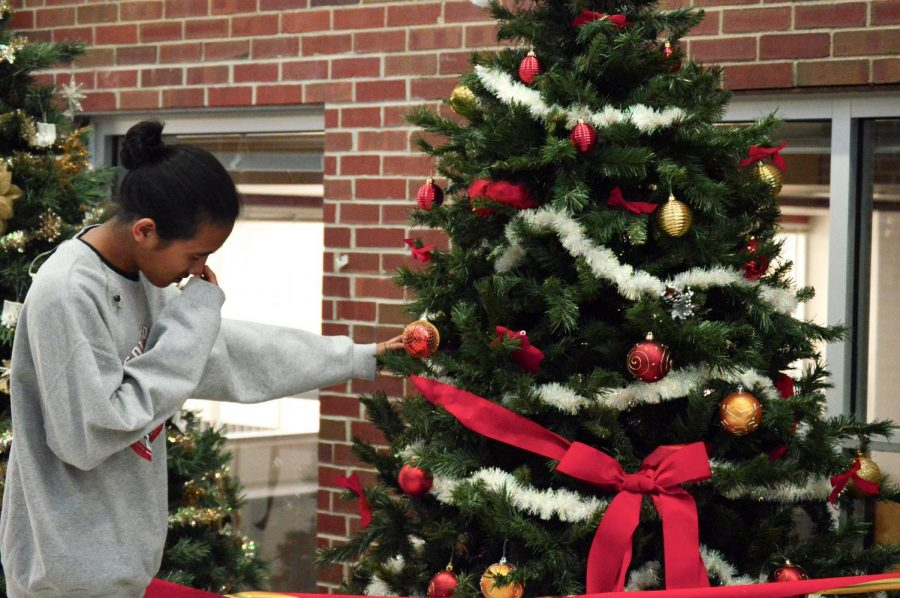 Senior John Cheerity mourns the Christmas past in the main hallway on Dec. 18.