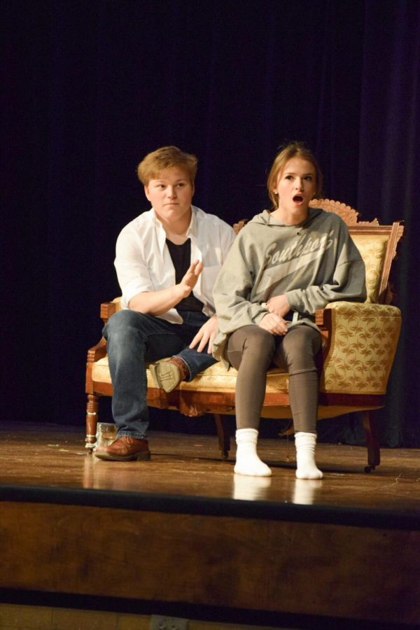 Senior Olivia Brite reacts as junior Sam Hansel pretends to forget her character's birthday in the one act play.