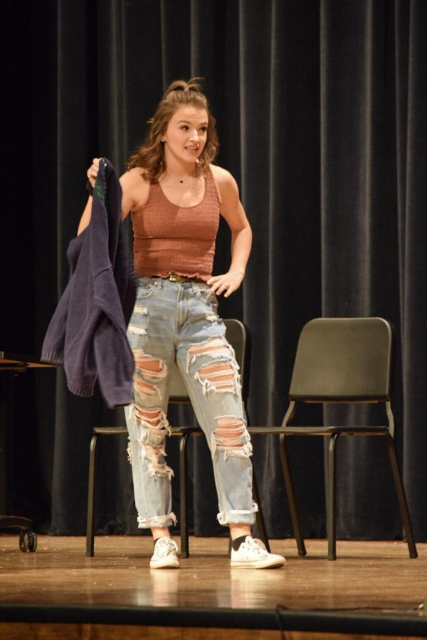Senior Olivia Brite mocks another character in the second one act play that she performed in.