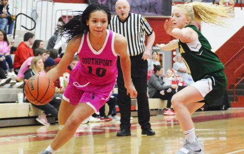Junior Kyra Duncan attacks her defender from Greenwood on Jan. 15. SHS won the game 53-36.