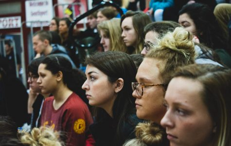 Students attend the walk-in to listen and discuss how to make a positive change during the national walk-out organized by the students at Parkland High School in Florida on March 14. SHS administration proposed the idea of having a conversation to promote change instead of walking out.