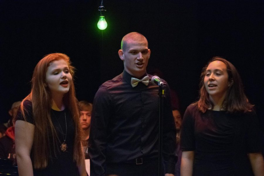 Senior Cassie Napier, juniors Justin Tidd and Adrianna Frederick sing a trio called I Only Have Eyes For You. This was the only  co-ed trio of the night.