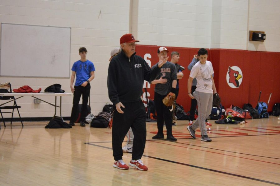 New head coach Phil Webster coaches art a practice on March 7.
