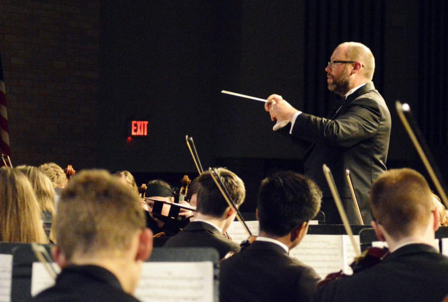 Wright conducts the last combined piece of the night.