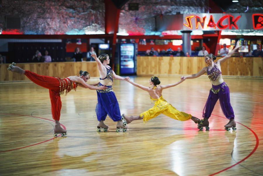 Garrett (far right) and her other quartet members Mattie Hyde (middle left), Addison Schmidt (middle right) and Cheyanne Lowery(far left) pose in their routine. The quartet will compete at the World Games on July 13.