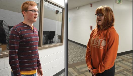Sophomore Terry Tripp (left) and junior Alexa Haines are both preparing for the national competition in June. Tripp is competing in World School Debate, and Haines is competing in Programmed Oral Interpretation.