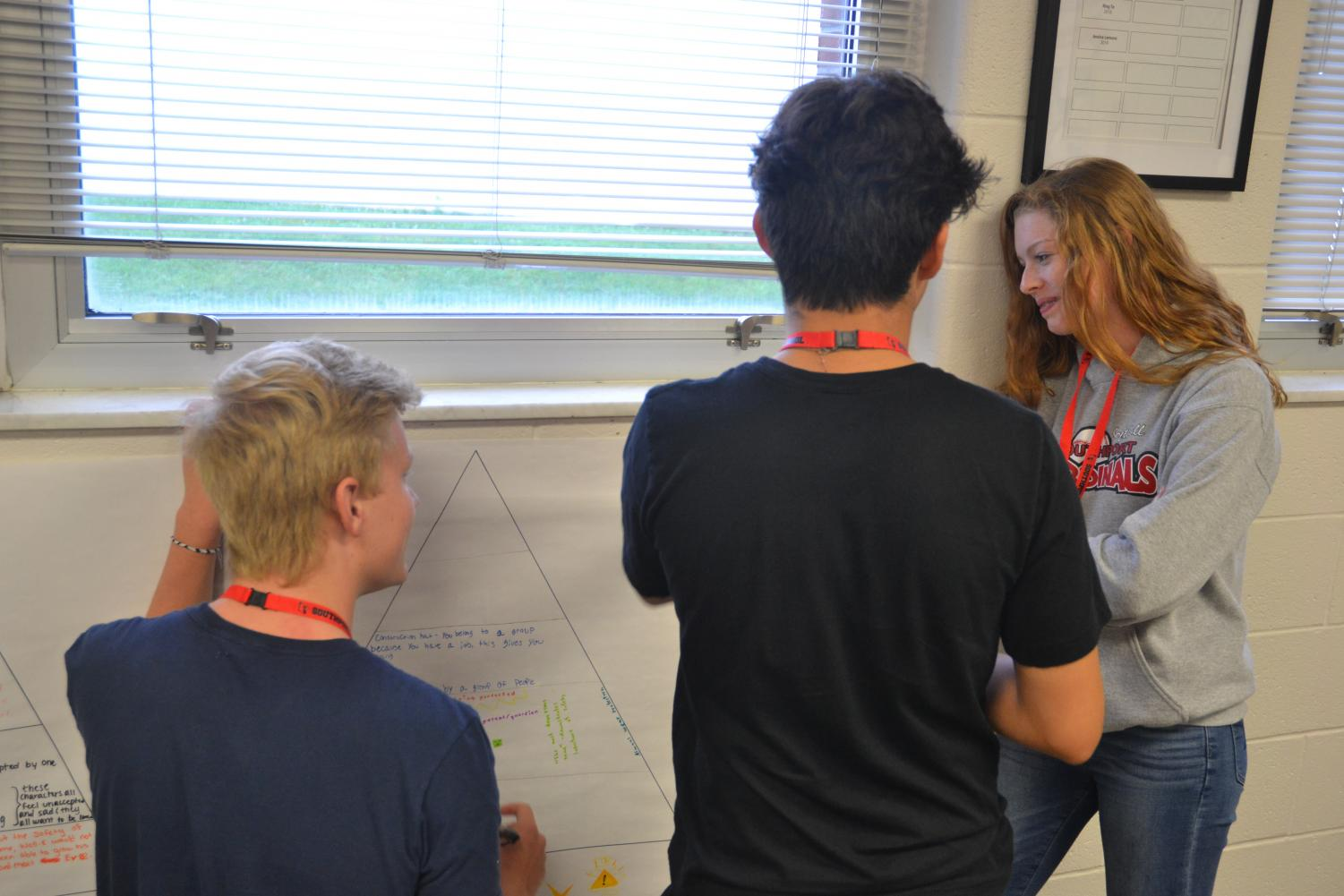 Students in English teacher Sam Hanley's G/T class do a poster activity around the classroom. The course content will soon be changed to fit the new pre-A.P. class.