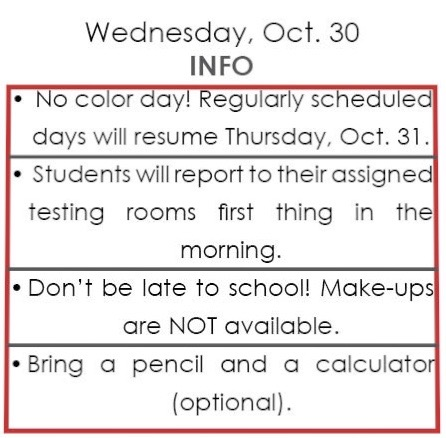 Standardized testing to take place on Wednesday, Oct. 30
