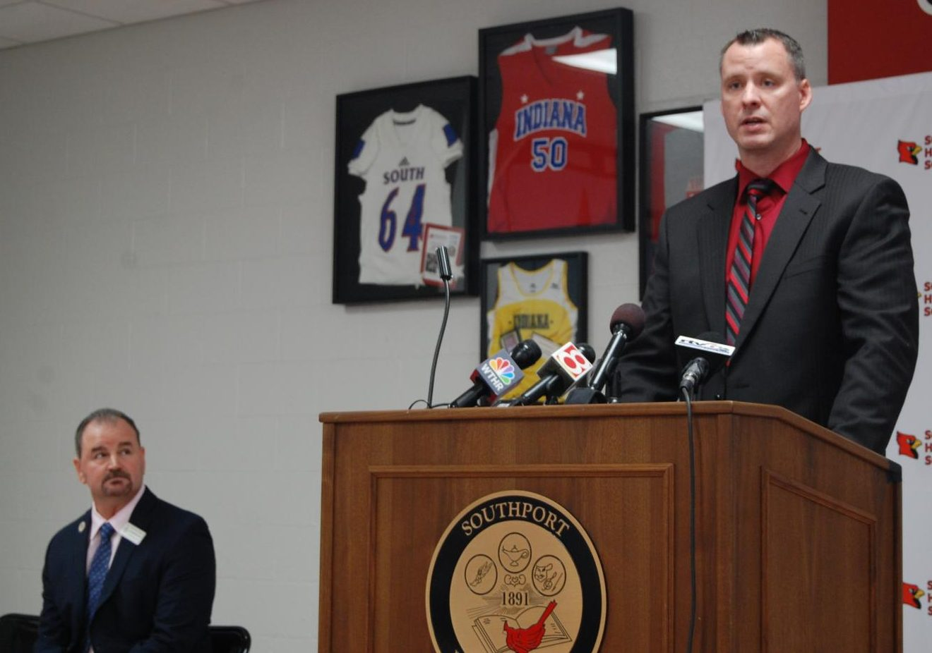 Head boys basketball coach Eric Brand explains his role in the violation of IHSAA rules at the press conference on Nov. 26.