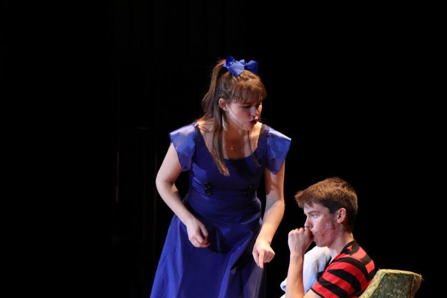Lucy, played by senior Lilly Leslie, gets mad at Linus, played by senior Gavin Hensley, for saying she can't own her own kingdom.