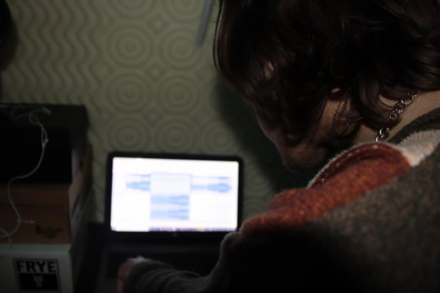 Doane edits his music in his at-home studio on Nov. 7. His studio is echo and soundproof.