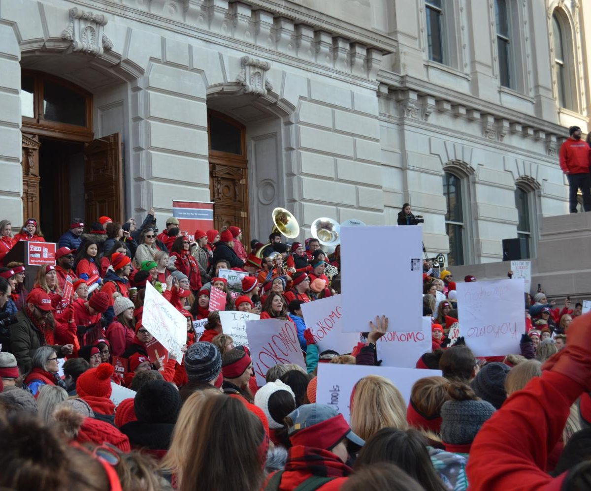 Educators and supporters of the Red for Ed movement gather around the Statehouse on Nov. 19 to protest Indiana's education policies. Around 15,000 people registered to attended the rally.