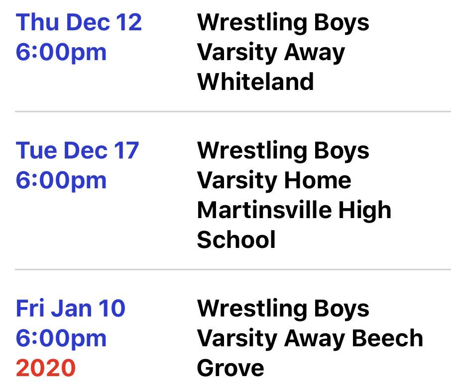 Not pictured above is a meet at Zionsville on Jan. 14 and a meet at Roncalli on Jan.16.