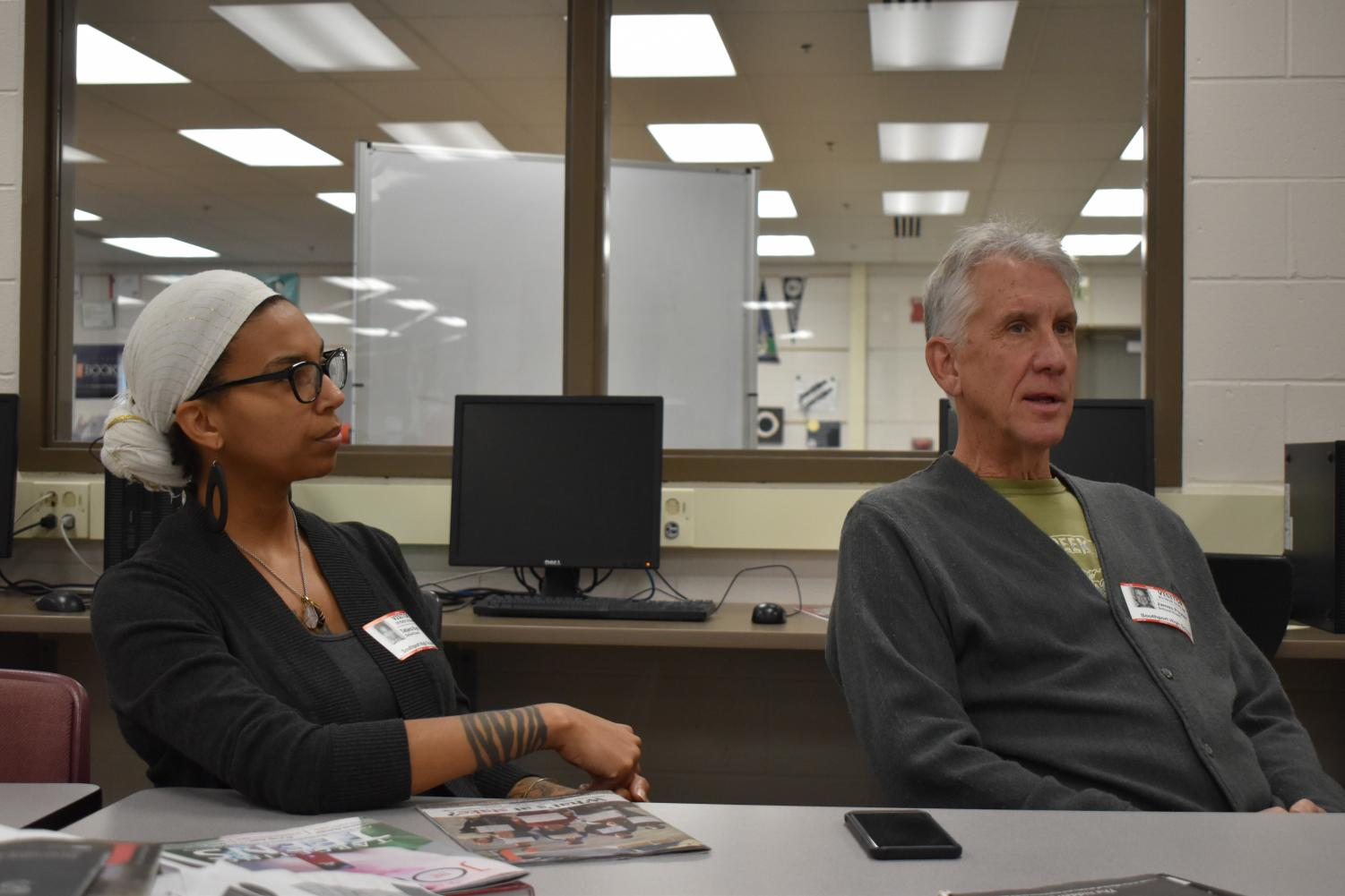 Executive Director Jim Poyser and Resilient Schools Coordinator Tatjana Rebelle from Earth Charter Indiana talk with The Journal during iPass on Jan. 16. This interview followed a walkthrough of SHS to see how sustainable the school is.