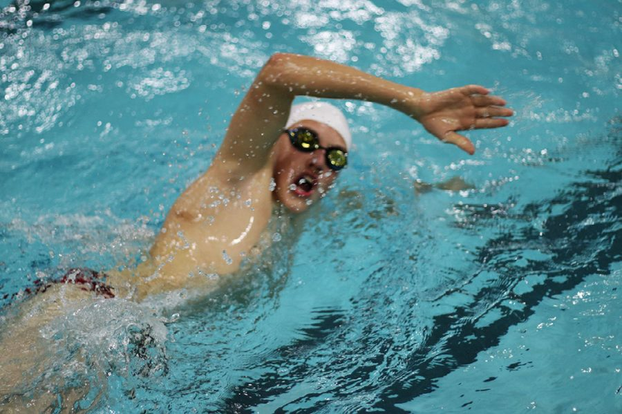 SHS boys and girls swim team competes against the Greenwood Woodmen on Jan. 14. Boys won 101.5-73.5 and girls lost 81-88 against the Woodmen.