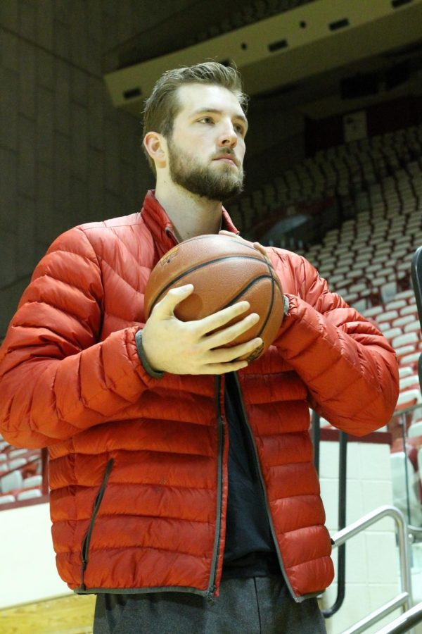 Brunk holds a basketball during an interview with The Journal at Assembly Hall.
