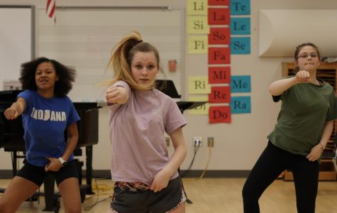 Freshman La'Quera Williams, junior Madison Baker and freshman Joshlynn Tanner dance during practice on Feb. 20. The dance team has practiced almost every day after school to prepare for nationals.
