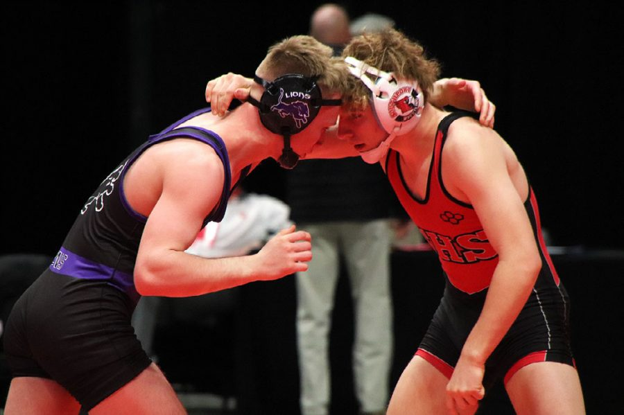 SHS celebrated junior Luke Goodwin's journey to State Finals for on Feb. 21 before he wrestled that night. Winning the placement match on Feb. 21 Goodwin went on to wrestle in the State Finals on Feb. 22 at Bankers Life Fieldhouse.