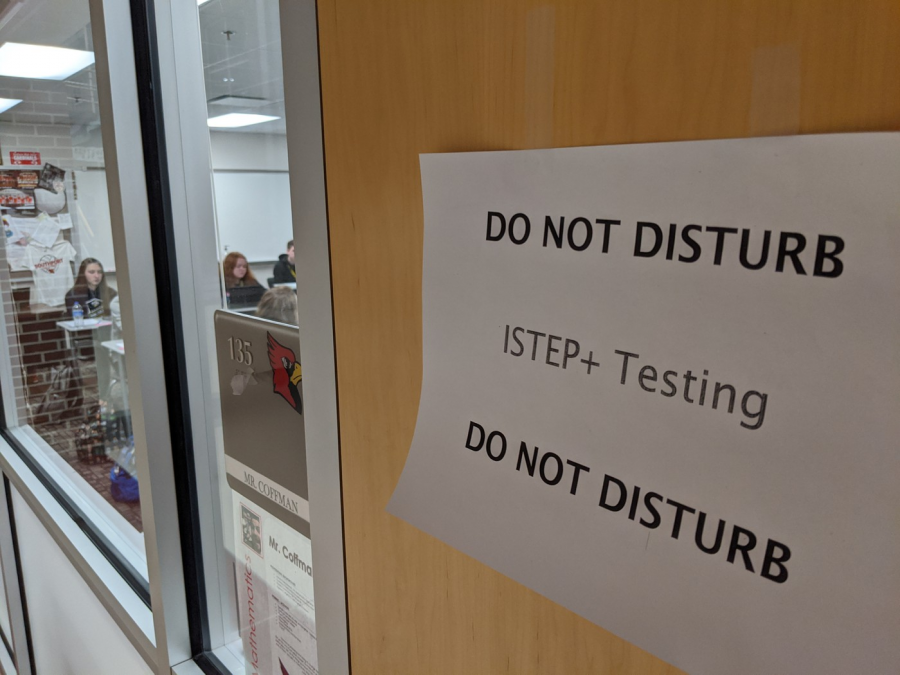 Students take the ISTEP+ test in a designated testing room. It is necessary to have as many test-takers out of the sophomore class as possible.