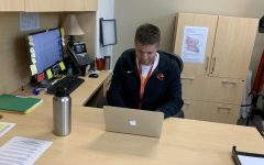 Assistant Principal Andrew Ashcraft works in his office at SHS. He will be taking over the job of principal at SMS for the upcoming school year.
