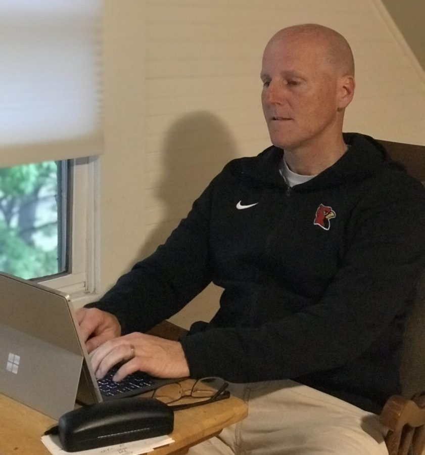 Assistant athletic director Brian Murphy works from home. He will take over the position of athletic director in the upcoming school year.