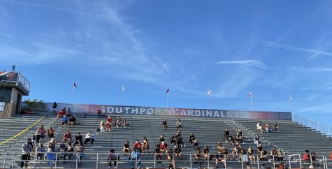 Due to COVID-19, fans are required to social distance and wear a mask while sitting in the stands. SHS lost their first game of the season 35-28 to Columbus North High School.