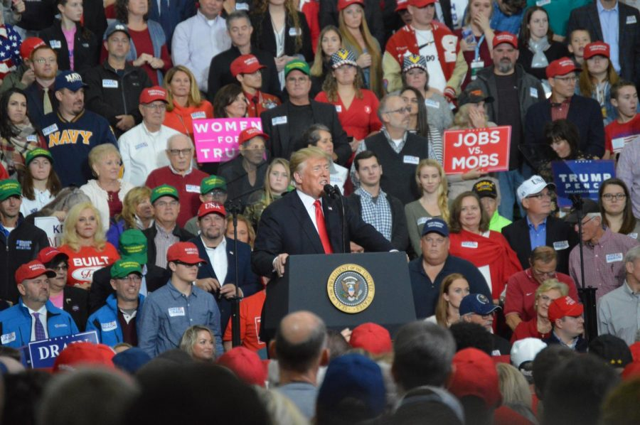 President Donald Trump speaks at his rally on Nov. 2, 2018 in the SHS fieldhouse.