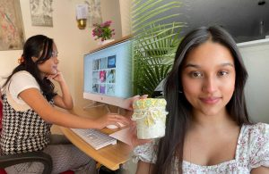 (Left) Junior Shen Bu checks on her Instagram shop. She hopes to post jewelry soon. (Photo contributed by Shen Bu) (Right) Junior Pilar Nava poses with her latest body butter. She recently started selling skincare. (Photo contributed by Pilar Nava)