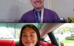 Senior Lydia Par and math teacher Jason Adler join on a Google Meet on April 26. Adler is Par's honored teacher for the STARS program.