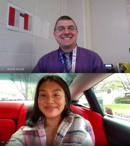 Senior Lydia Par and math teacher Jason Adler join on a Google Meet on April 26. Adler is Par