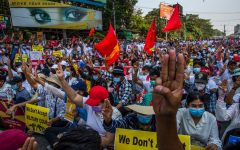 Thousands of people protest in Yangon on Feb. 22.  In the following days, there were peaceful protests across.