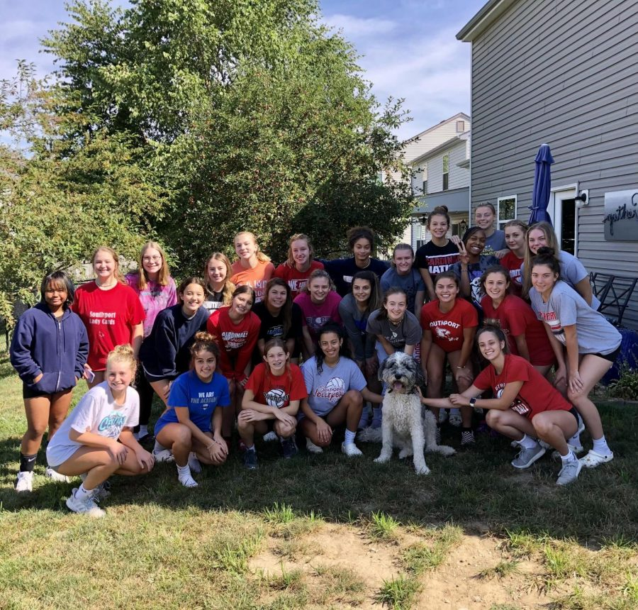SHS Lady Cards gather around for a team picture after a team bonding brunch.