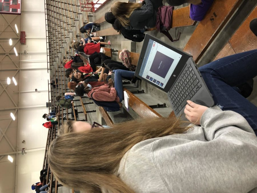 SHS students work on online gym assignments. Gym teachers use these assignments to introduce students to activities.