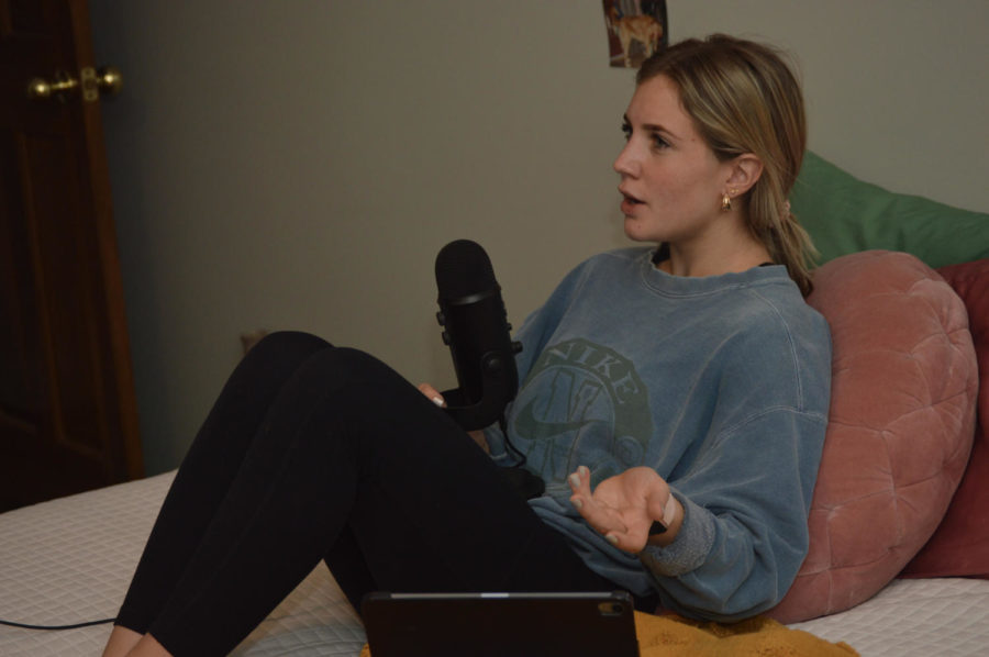 Meredith+records+future+episodes+of+her+podcast+on+her+bed.++She+has+normally+recorded+her+podcasts+in+that+spot.+